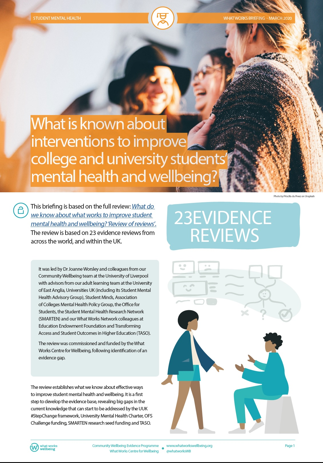 Student mental health review of reviews