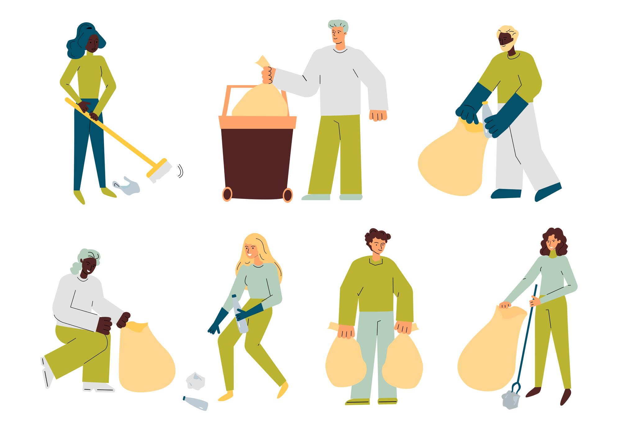 Images of volunteers picking up trash