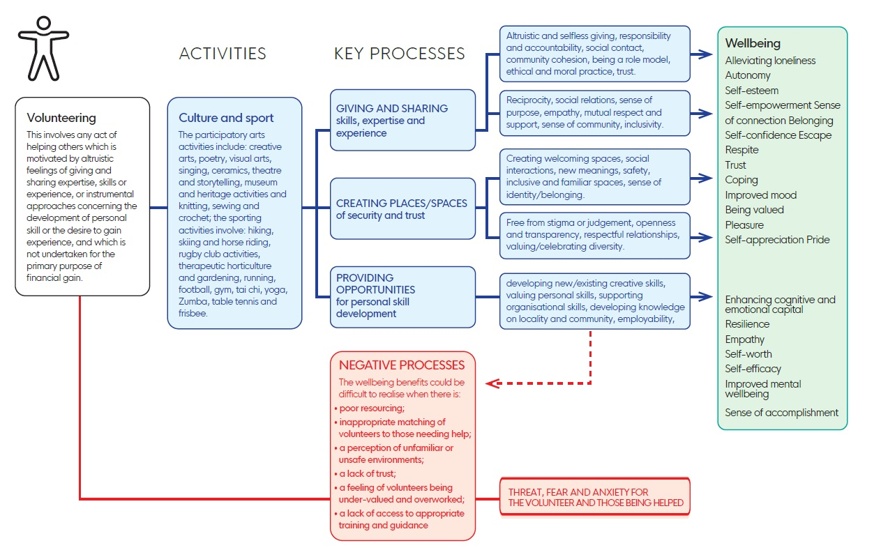 Process map showing the pathways of impact for reducing loneliness and improving wellbeing